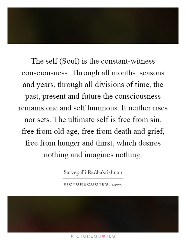 The self (Soul) is the constant-witness consciousness. Through all months, seasons and years, through all divisions of time, the past, present and future the consciousness remains one and self luminous. It neither rises nor sets. The ultimate self is free from sin, free from old age, free from death and grief, free from hunger and thirst, which desires nothing and imagines nothing Picture Quote #1