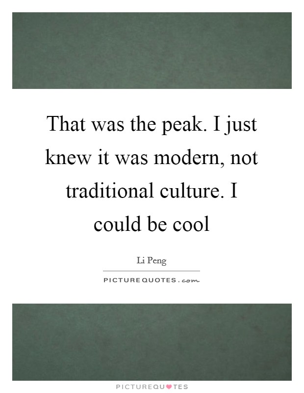 That was the peak. I just knew it was modern, not traditional culture. I could be cool Picture Quote #1