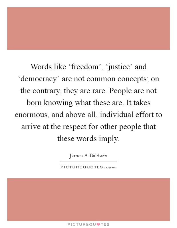 Words like 'freedom', 'justice' and 'democracy' are not common concepts; on the contrary, they are rare. People are not born knowing what these are. It takes enormous, and above all, individual effort to arrive at the respect for other people that these words imply Picture Quote #1