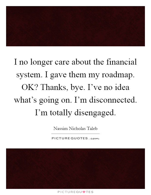 I no longer care about the financial system. I gave them my roadmap. OK? Thanks, bye. I've no idea what's going on. I'm disconnected. I'm totally disengaged Picture Quote #1