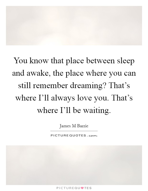 You know that place between sleep and awake, the place where you can still remember dreaming? That's where I'll always love you. That's where I'll be waiting Picture Quote #1