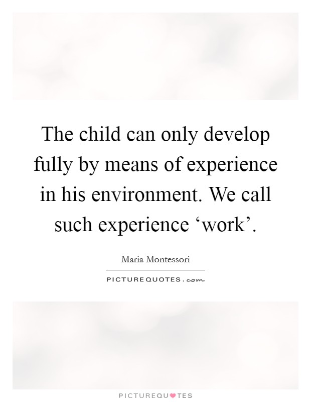 The child can only develop fully by means of experience in his environment. We call such experience 'work' Picture Quote #1