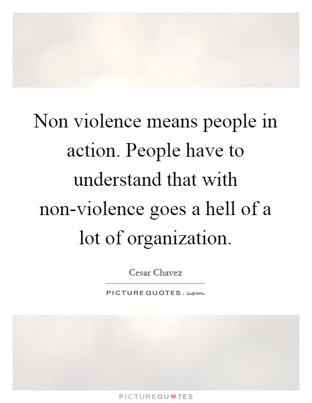 Non violence means people in action. People have to understand that with non-violence goes a hell of a lot of organization Picture Quote #1