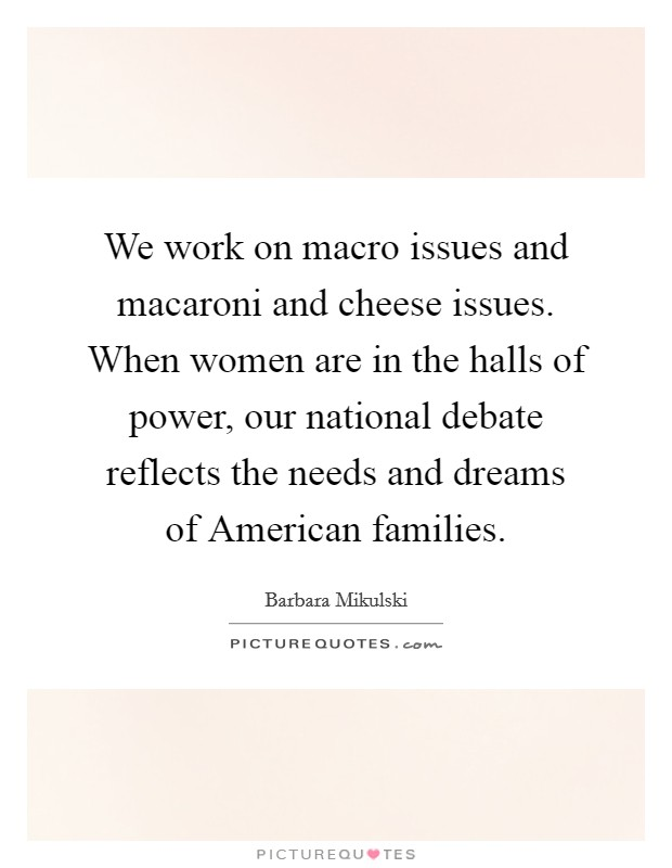 We work on macro issues and macaroni and cheese issues. When women are in the halls of power, our national debate reflects the needs and dreams of American families Picture Quote #1