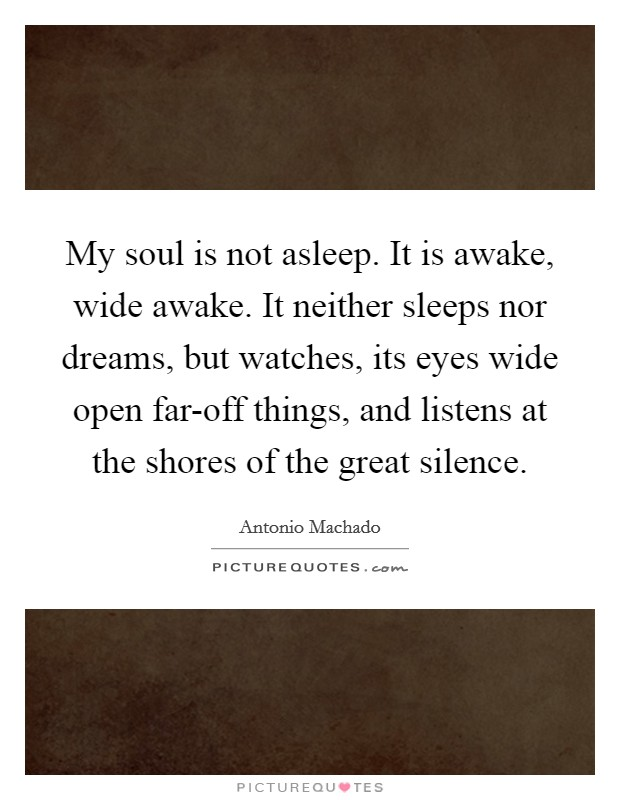 My soul is not asleep. It is awake, wide awake. It neither sleeps nor dreams, but watches, its eyes wide open far-off things, and listens at the shores of the great silence Picture Quote #1