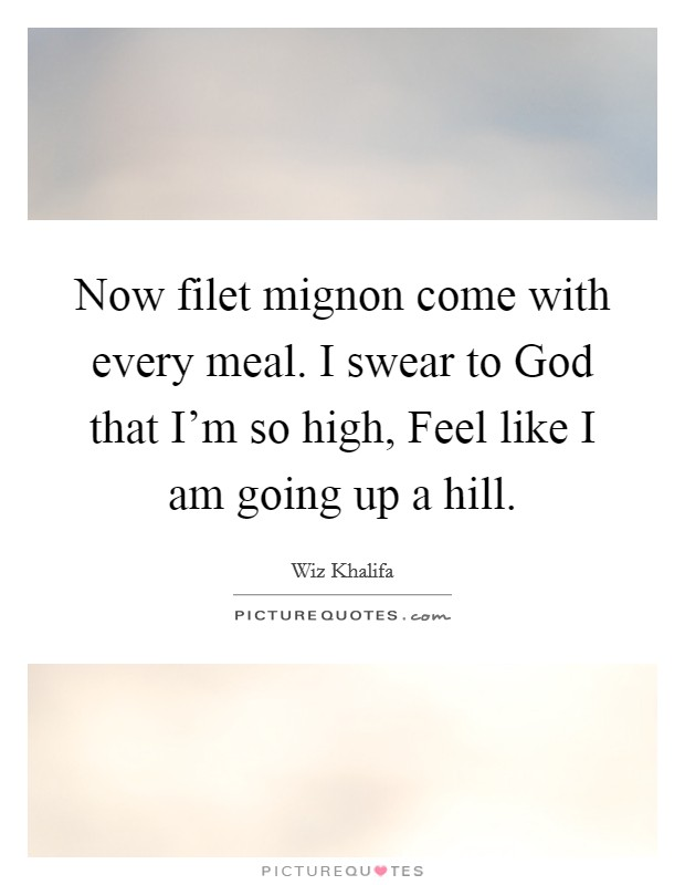 Now filet mignon come with every meal. I swear to God that I'm so high, Feel like I am going up a hill Picture Quote #1