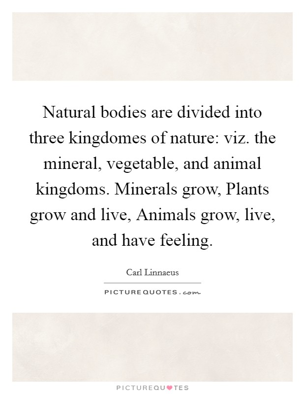 Natural bodies are divided into three kingdomes of nature: viz. the mineral, vegetable, and animal kingdoms. Minerals grow, Plants grow and live, Animals grow, live, and have feeling Picture Quote #1