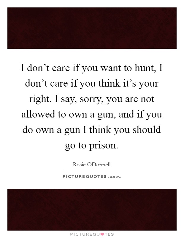 I don't care if you want to hunt, I don't care if you think it's your right. I say, sorry, you are not allowed to own a gun, and if you do own a gun I think you should go to prison Picture Quote #1