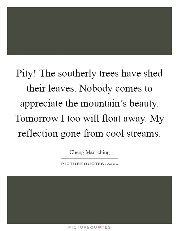 Pity! The southerly trees have shed their leaves. Nobody comes to appreciate the mountain's beauty. Tomorrow I too will float away. My reflection gone from cool streams Picture Quote #1