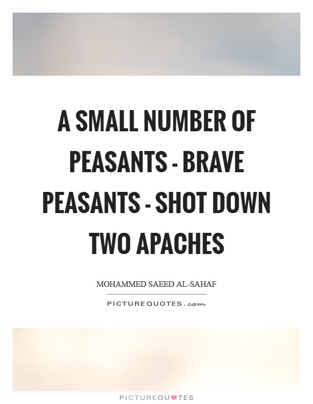 A small number of peasants - brave peasants - shot down two Apaches Picture Quote #1