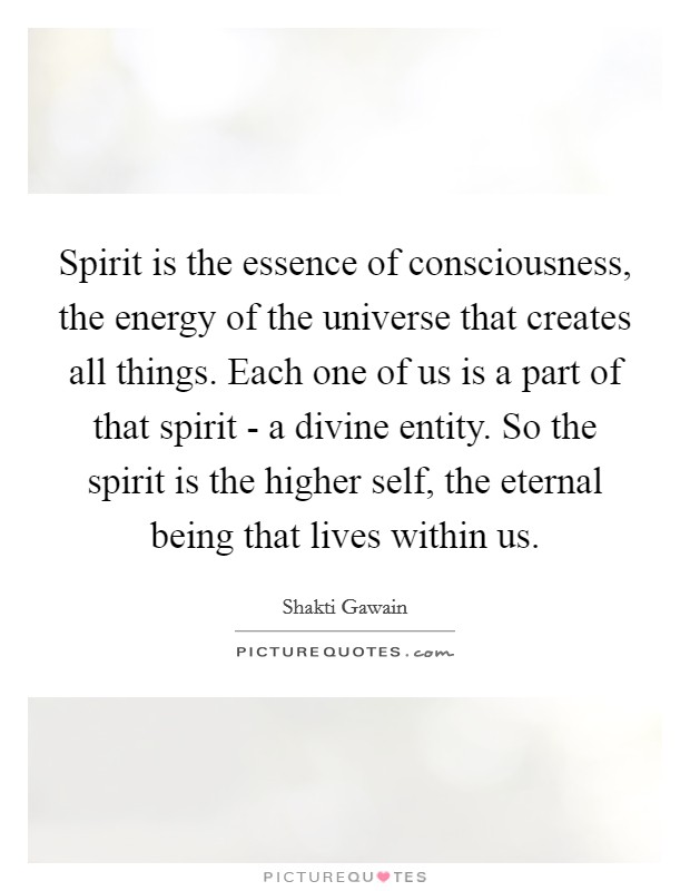 Spirit is the essence of consciousness, the energy of the universe that creates all things. Each one of us is a part of that spirit - a divine entity. So the spirit is the higher self, the eternal being that lives within us Picture Quote #1