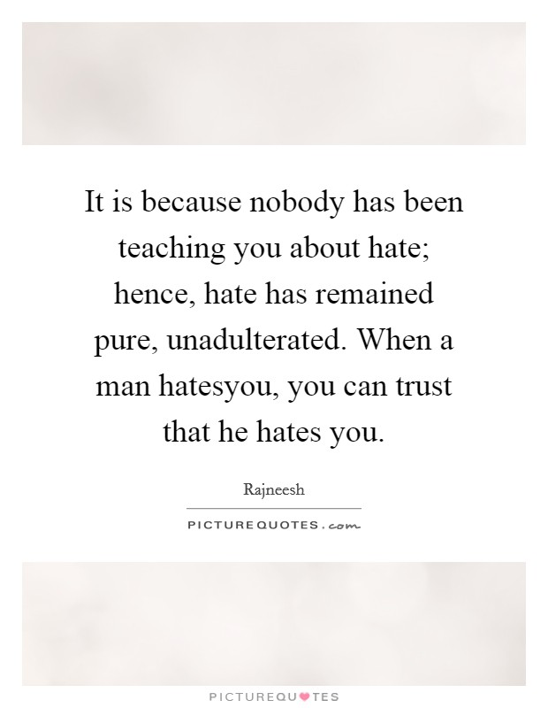 It is because nobody has been teaching you about hate; hence, hate has remained pure, unadulterated. When a man hatesyou, you can trust that he hates you Picture Quote #1