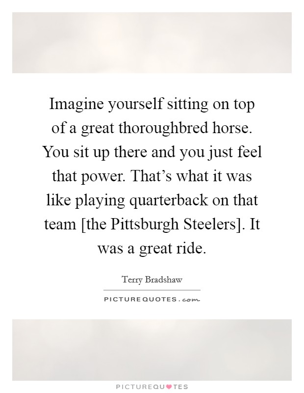 Imagine yourself sitting on top of a great thoroughbred horse. You sit up there and you just feel that power. That's what it was like playing quarterback on that team [the Pittsburgh Steelers]. It was a great ride Picture Quote #1