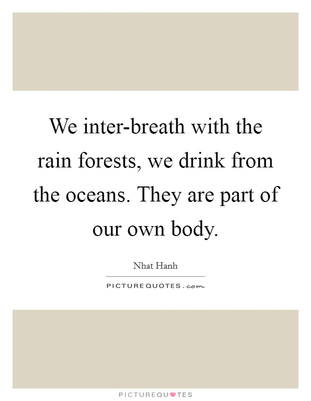 We inter-breath with the rain forests, we drink from the oceans. They are part of our own body Picture Quote #1