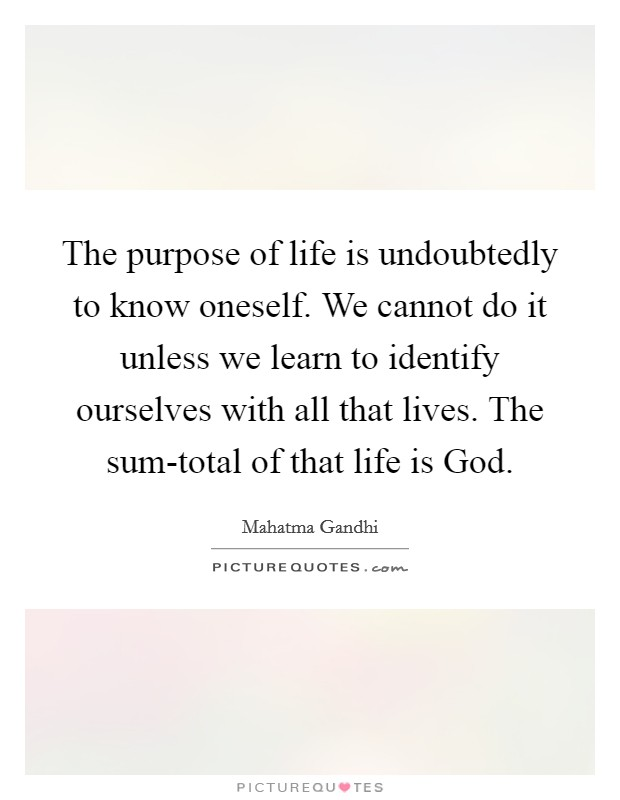 The purpose of life is undoubtedly to know oneself. We cannot do it unless we learn to identify ourselves with all that lives. The sum-total of that life is God Picture Quote #1