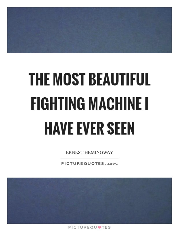 The most beautiful fighting machine I have ever seen Picture Quote #1