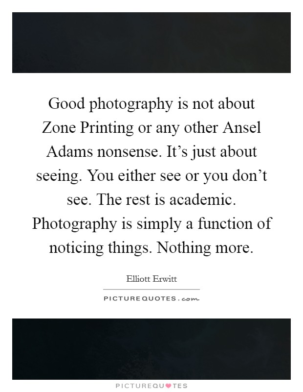 Good photography is not about Zone Printing or any other Ansel Adams nonsense. It's just about seeing. You either see or you don't see. The rest is academic. Photography is simply a function of noticing things. Nothing more Picture Quote #1