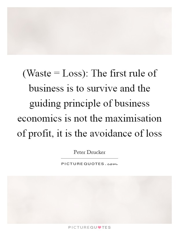 (Waste = Loss): The first rule of business is to survive and the guiding principle of business economics is not the maximisation of profit, it is the avoidance of loss Picture Quote #1