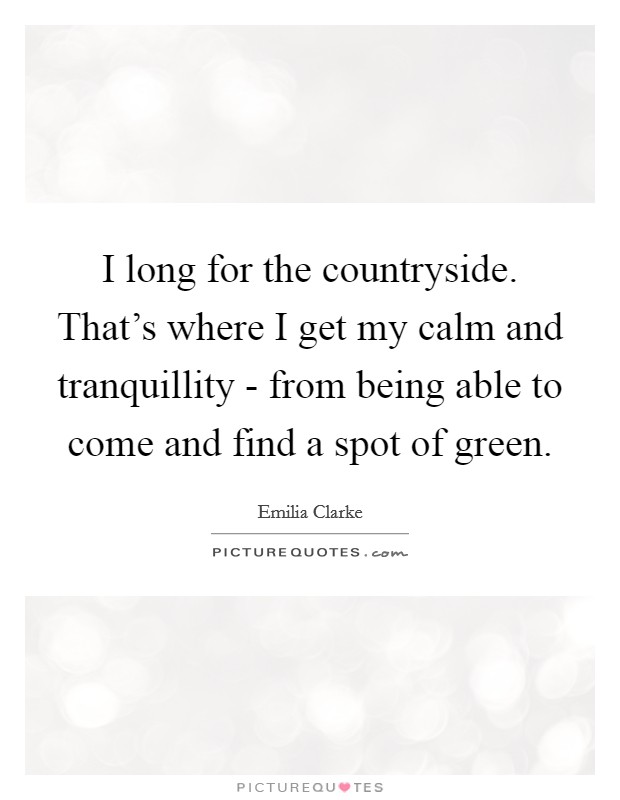 I long for the countryside. That's where I get my calm and tranquillity - from being able to come and find a spot of green Picture Quote #1