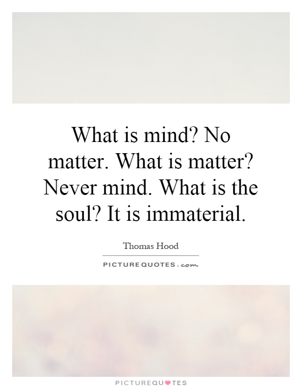 What is mind? No matter. What is matter? Never mind. What is the soul? It is immaterial Picture Quote #1