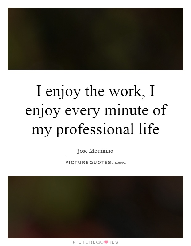 I enjoy the work, I enjoy every minute of my professional life Picture Quote #1