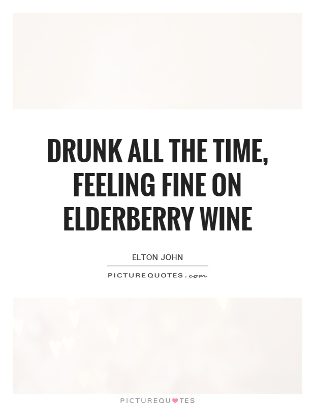 Drunk all the time, feeling fine on elderberry wine Picture Quote #1