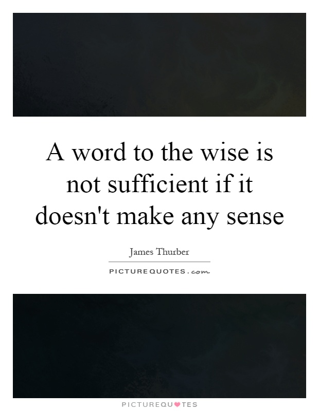 A Word To The Wise Is Not Sufficient If It Doesn't Make