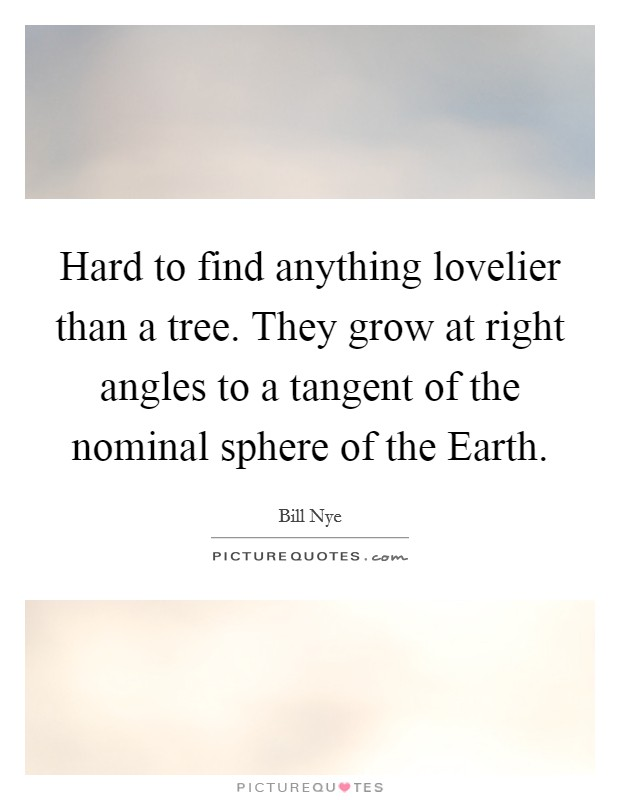 Hard to find anything lovelier than a tree. They grow at right angles to a tangent of the nominal sphere of the Earth Picture Quote #1