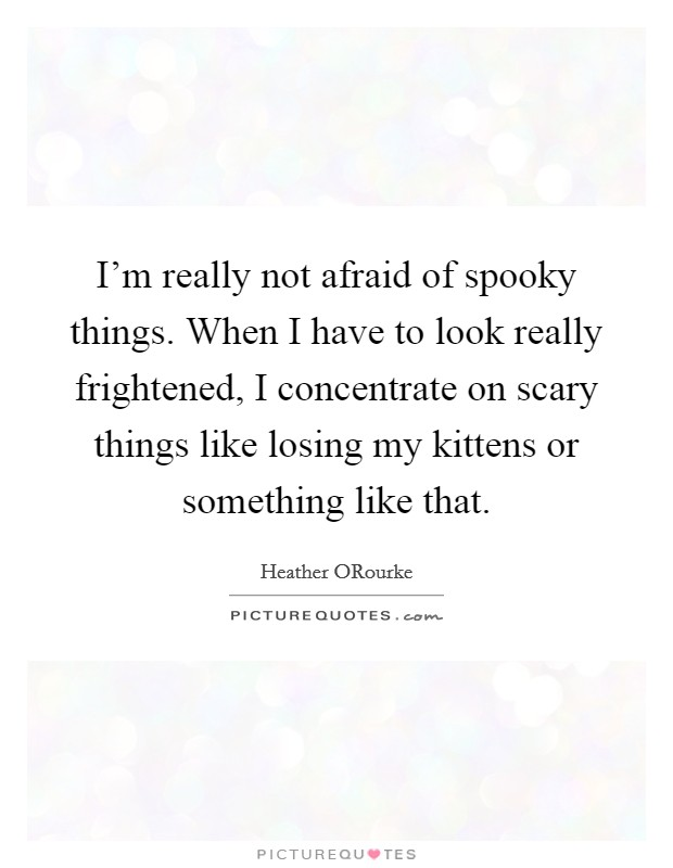 I'm really not afraid of spooky things. When I have to look really frightened, I concentrate on scary things like losing my kittens or something like that Picture Quote #1