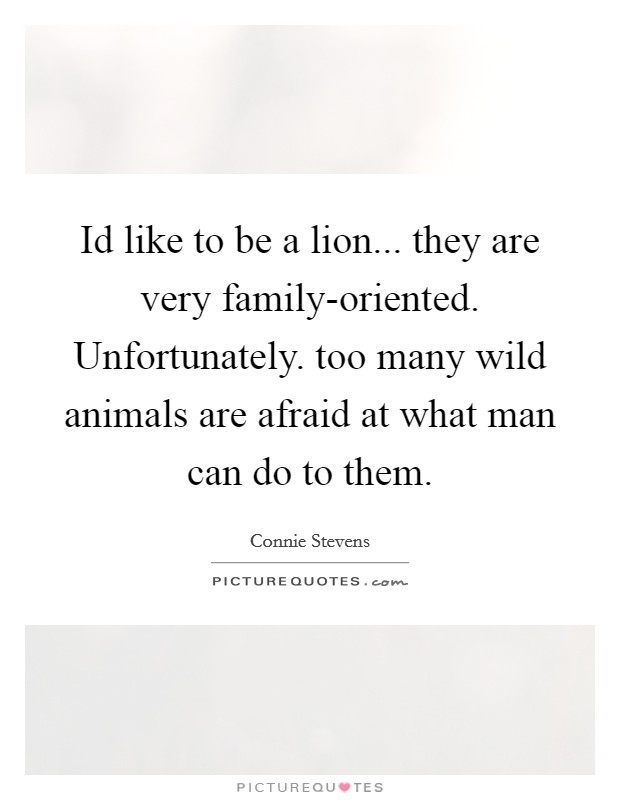 Id like to be a lion... they are very family-oriented. Unfortunately. too many wild animals are afraid at what man can do to them Picture Quote #1