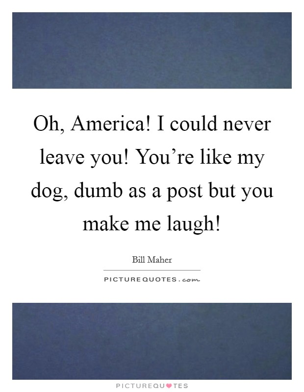 Oh, America! I could never leave you! You're like my dog, dumb as a post but you make me laugh! Picture Quote #1