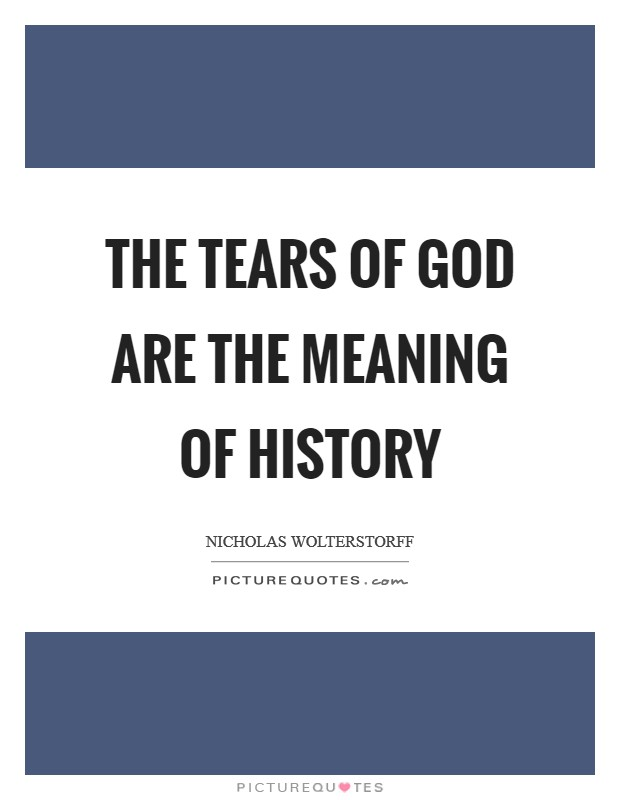 The tears of God are the meaning of history Picture Quote #1