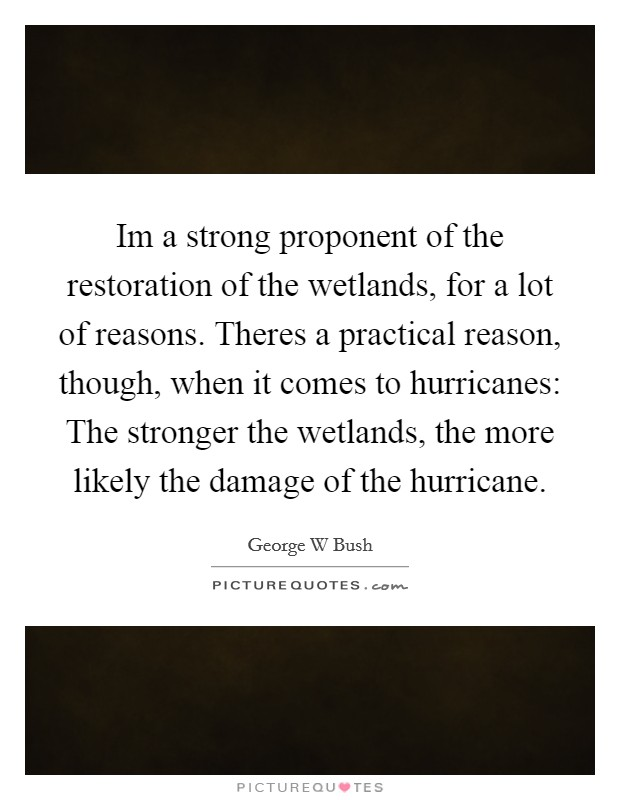 Im a strong proponent of the restoration of the wetlands, for a lot of reasons. Theres a practical reason, though, when it comes to hurricanes: The stronger the wetlands, the more likely the damage of the hurricane Picture Quote #1