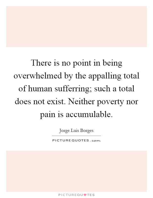 There is no point in being overwhelmed by the appalling total of human sufferring; such a total does not exist. Neither poverty nor pain is accumulable Picture Quote #1