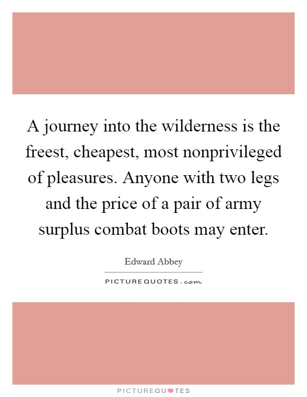A journey into the wilderness is the freest, cheapest, most nonprivileged of pleasures. Anyone with two legs and the price of a pair of army surplus combat boots may enter Picture Quote #1