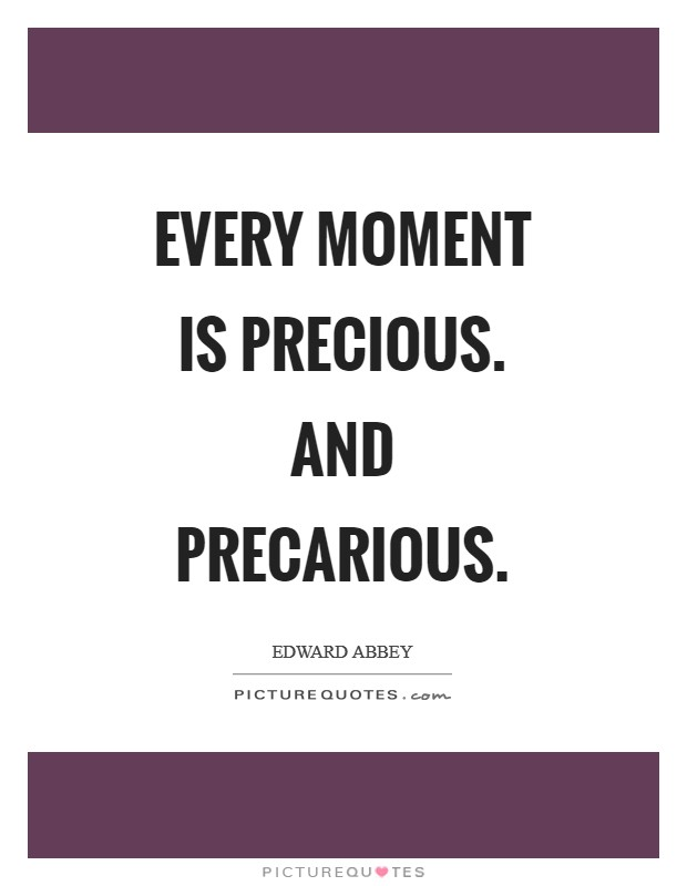 Every moment is precious. And precarious Picture Quote #1