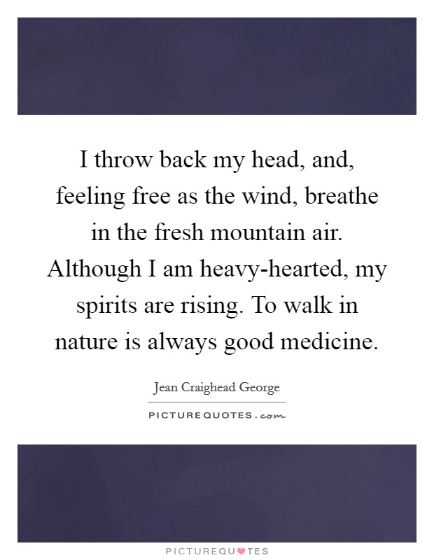 I throw back my head, and, feeling free as the wind, breathe in the fresh mountain air. Although I am heavy-hearted, my spirits are rising. To walk in nature is always good medicine Picture Quote #1