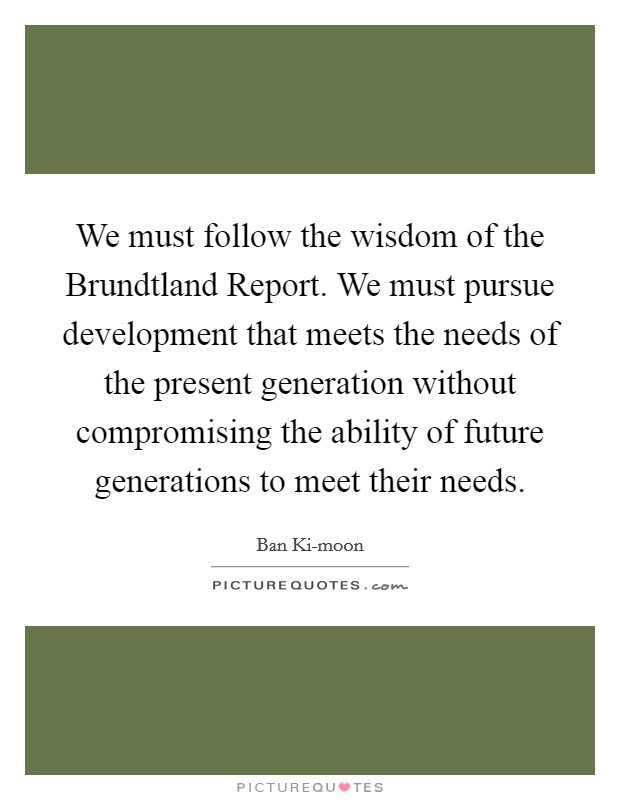 We must follow the wisdom of the Brundtland Report. We must pursue development that meets the needs of the present generation without compromising the ability of future generations to meet their needs Picture Quote #1