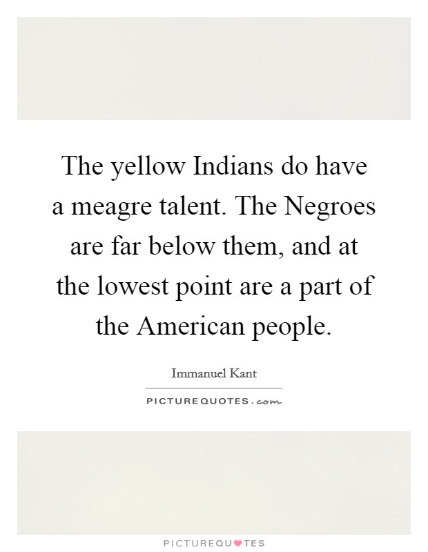 The yellow Indians do have a meagre talent. The Negroes are far below them, and at the lowest point are a part of the American people Picture Quote #1
