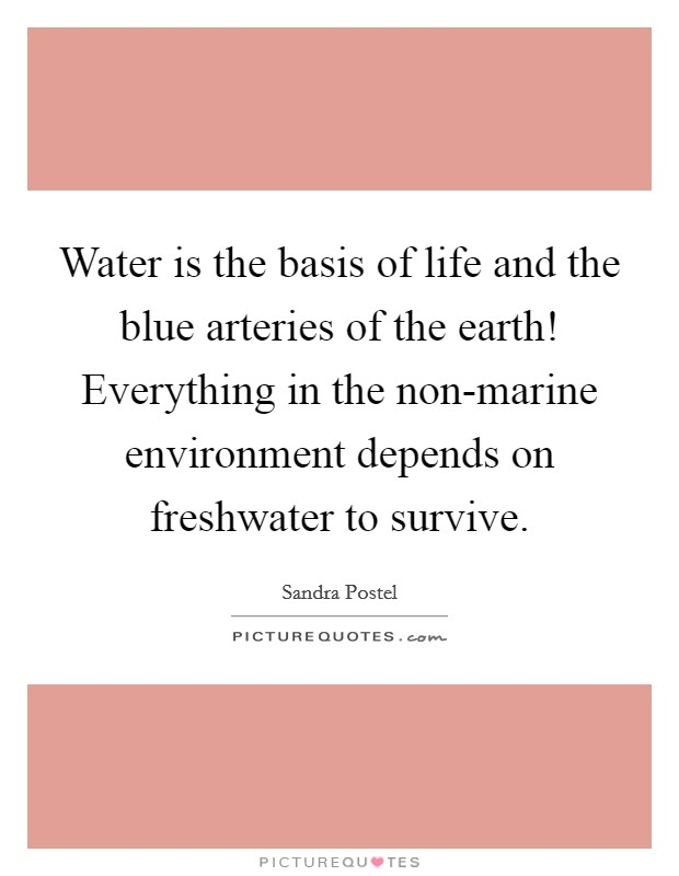 Water is the basis of life and the blue arteries of the earth! Everything in the non-marine environment depends on freshwater to survive Picture Quote #1