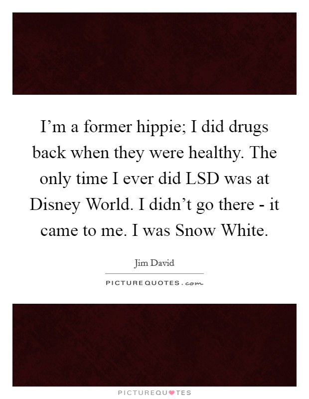 I'm a former hippie; I did drugs back when they were healthy. The only time I ever did LSD was at Disney World. I didn't go there - it came to me. I was Snow White Picture Quote #1