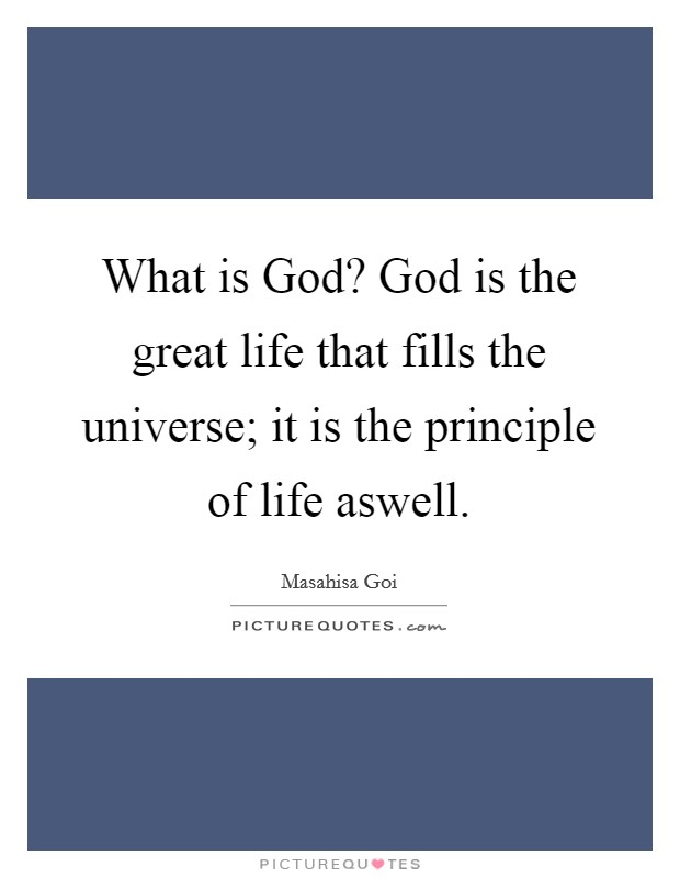 What is God? God is the great life that fills the universe; it is the principle of life aswell Picture Quote #1