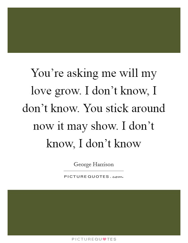 You're asking me will my love grow. I don't know, I don't know. You stick around now it may show. I don't know, I don't know Picture Quote #1