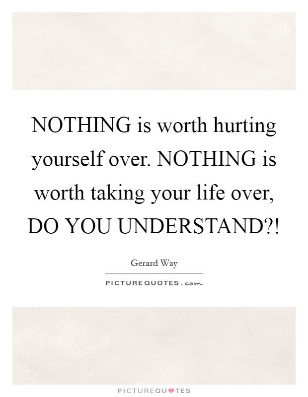 NOTHING is worth hurting yourself over. NOTHING is worth taking your life over, DO YOU UNDERSTAND?! Picture Quote #1
