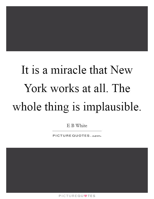 It is a miracle that New York works at all. The whole thing is implausible Picture Quote #1