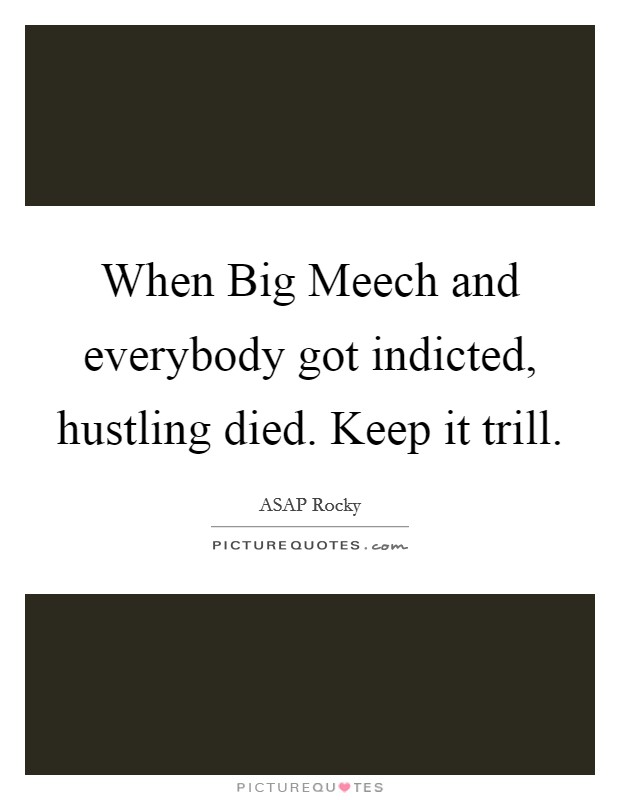 When Big Meech and everybody got indicted, hustling died. Keep it trill Picture Quote #1
