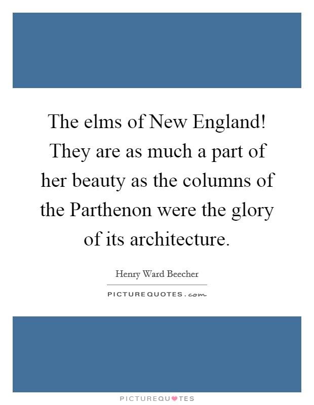 The elms of New England! They are as much a part of her beauty as the columns of the Parthenon were the glory of its architecture Picture Quote #1