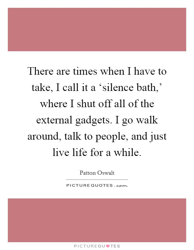 There are times when I have to take, I call it a 'silence bath,' where I shut off all of the external gadgets. I go walk around, talk to people, and just live life for a while Picture Quote #1