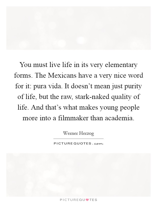 You must live life in its very elementary forms. The Mexicans have a very nice word for it: pura vida. It doesn't mean just purity of life, but the raw, stark-naked quality of life. And that's what makes young people more into a filmmaker than academia Picture Quote #1