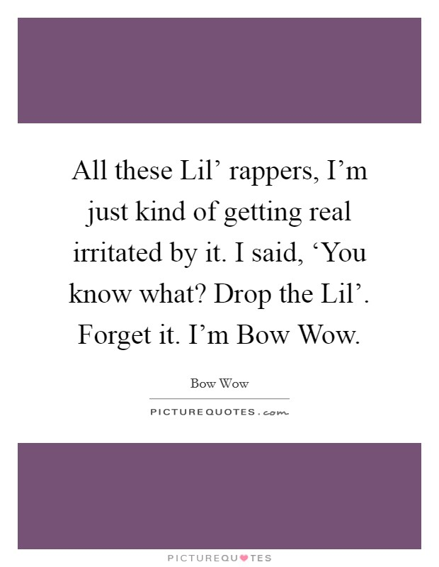 All these Lil' rappers, I'm just kind of getting real irritated by it. I said, 'You know what? Drop the Lil'. Forget it. I'm Bow Wow Picture Quote #1